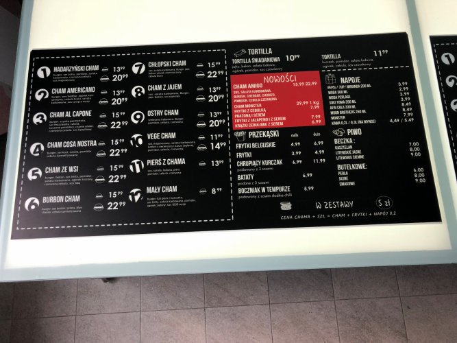 Chamiarnia - Menu Board